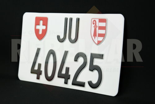 Swiss aluminum Jura Canton license plate, accurate size 300x160 mm