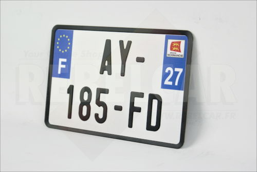 White reflective motorcycle 210x130 mm license plate with BLACK BORDER, department logo at your choice