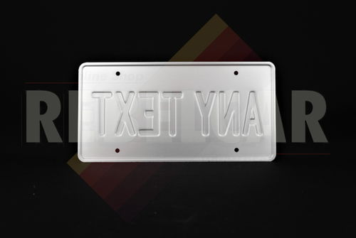 """US WHITE REFLECTIVE license plate with COUNTER-EMBOSSED BORDER and 4 factory-drilled diam. 7 mm holes, size 300x150 mm / 12x6"""""""
