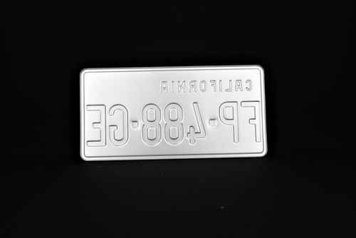 """US CALIFORNIA YELLOW REFLECTIVE license plate with YELLOW BORDER, CALIFORNIA embossed ON THE TOP LEFT CORNER, CUSTOM VALIDATION STICKER, size 300x150 mm / 12x6"""""""
