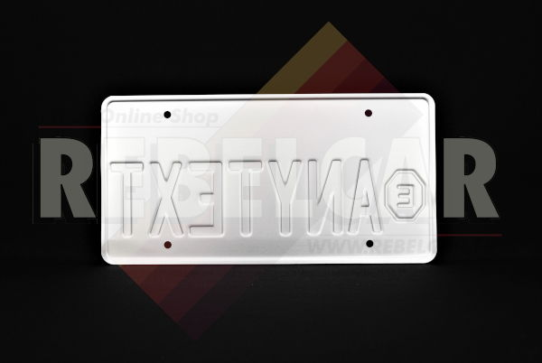 """US CALIFORNIA EXEMPT WHITE reflective license plate with italic screen printed California text, EXEMPT sign on the left and COUNTER-EMBOSSED BORDER, size 300x150 mm / 12x6"""""""