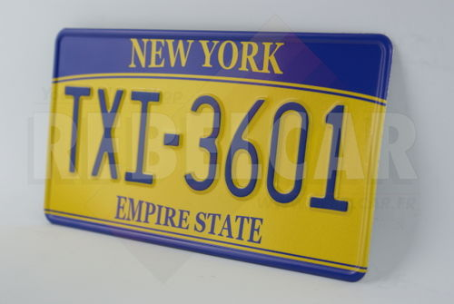 """US NEW YORK """"EMPIRE STATE"""" YELLOW REFLECTIVE license plate, with embossed border, size 300x150 mm / 12x6"""""""