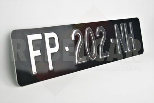 Embossed / hot-stamped aluminum license plate with custom size, manufacturing time ≃ 3 working weeks min.