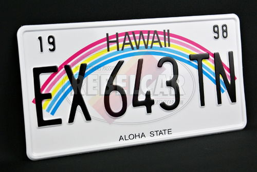 """US HAWAII """"ALOHA STATE"""" non-reflective license plate with rainbow graphic, WHITE BORDER, size 300x150 mm / 12x6"""" - note to the workshop : non-reflective version"""