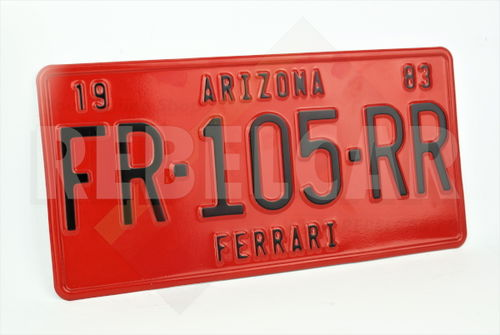 """US EMBOSSED RED REFLECTIVE license plate with RED BORER size 300x150 mm / 12x6"""""""
