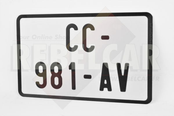 WHITE REFLECTIVE motorcycle 210x130 mm license plate with BLACK BORDER, NO LOGOS