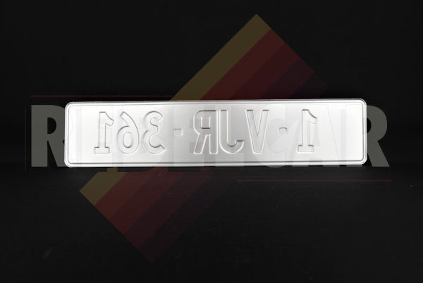 WHITE REFLECTIVE EMBOSSED BELGIUM aluminum license plate with EU B LOGO on the left RED DIGITS AND BORDER, size 520x110 mm