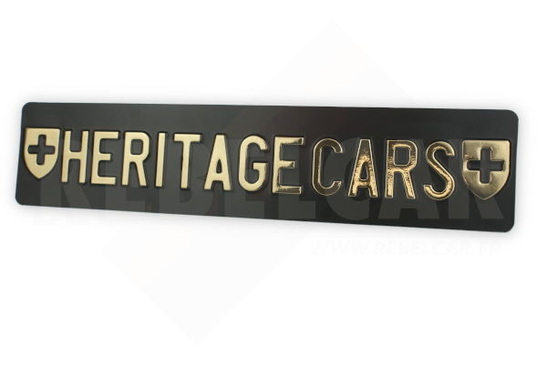 Swiss BLACK license plate, accurate size 500x110 mm with GOLDEN CUSTOM TEXT