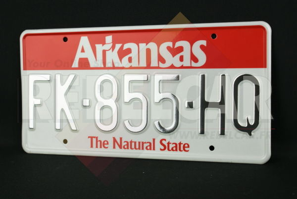 """US ARKANSAS """"THE NATURAL STATE"""" WHITE REFLECTIVE license plate with RED BAND AT TOP, WHITE BORDER, size 300x150 mm / 12x6"""""""