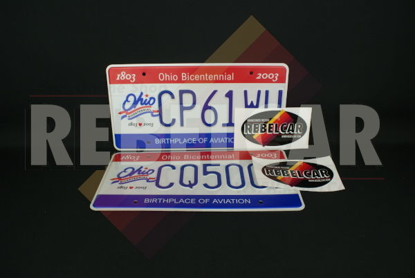 """US OHIO BICENTENNIAL REFLECTIVE license plate with Ohio Bicentennial Commission logo and red and blue bars, COUNTER-EMBOSSED BORDER and 4 ROUND MOUNTING HOLES, size 300x150 mm / 12x6"""""""