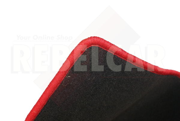 BLACK velvet BOOT MAT for 205 rallye with RED BORDER and RED CENTRAL HORIZONTAL LOGOS
