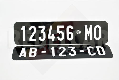 ITALIAN GLOSSY BLACK 265x65 mm collection license plate WITHOUT BORDER (flat) with EMBOSSED and HOT-STAMPED DIGITS in WHITE COLOR