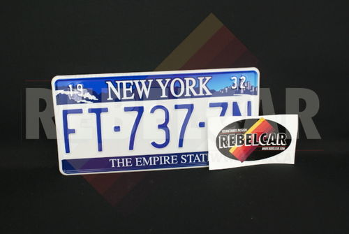"""US NEW YORK """"THE EMPIRE STATE"""" WHITE REFLECTIVE license plate with Niagara Falls, Adirondack Mountains, and New York City on the top, WHITE BORDER, size 300x150 mm / 12x6"""""""