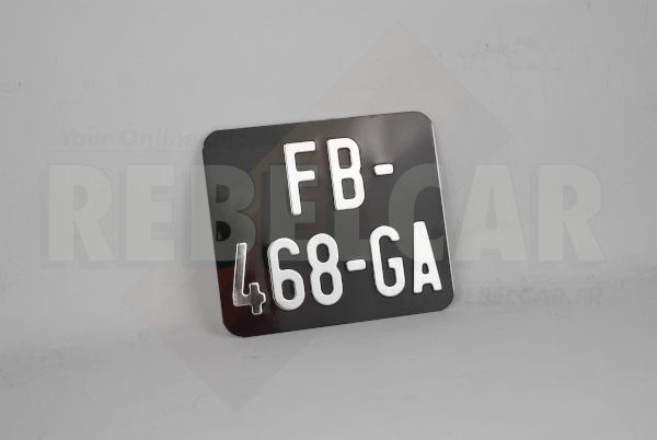2-LINES-HORIZONTAL SHINY BLACK moped license plate size 140x120 mm without border (flat), with SILVER-CHROME DIGITS