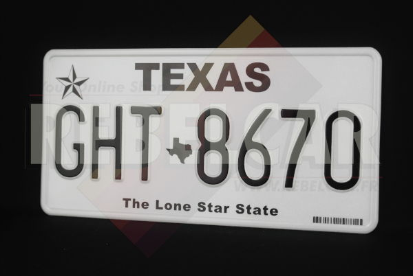 """US EMBOSSED TEXAS reflective license plate lone star, TEXAS upper black text, texas state shape, """"The Lone Star State"""" at bottom and barcode, WHITE BORDER, size 300x150 mm / 12x6"""""""