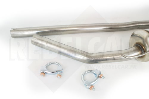 Group N stainless steel exhaust system for Renault Supercinq GT turbo phase 1 and 2, including 2 mounting clamps