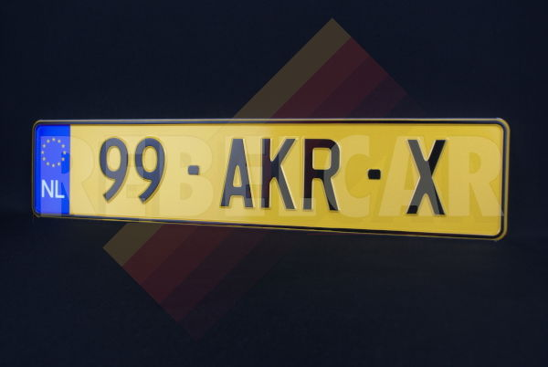 YELLOW REFLECTIVE EMBOSSED NETHERLANDS aluminum license plate with EU NL LOGO on the left and BLACK DIGITS AND BORDER, size 520x110 mm