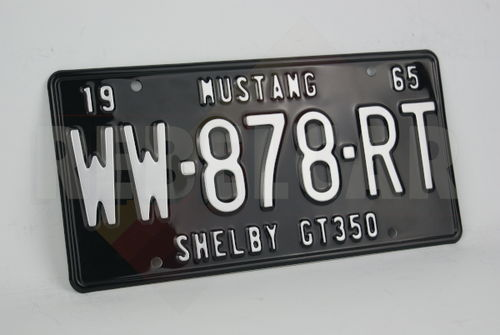 """US EMBOSSED GLOSSY BLACK non-reflective aluminim license plate with GREY DIGITS and OPTIONAL CUSTOM TEXTS, BLACK BORDER, size 300x150 mm / 12x6"""""""