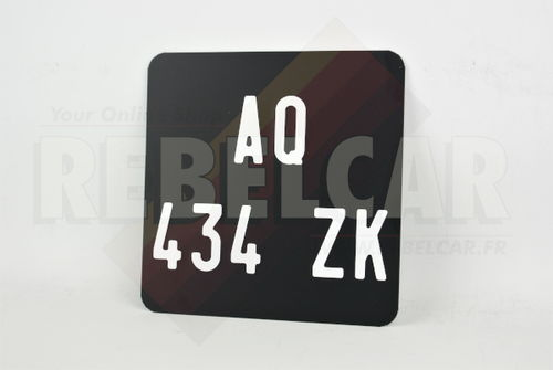 Aluminum MATT BLACK 165x165 mm motorcycle license plate WITHOUT BORDER (flat) with EMBOSSED and HOT-STAMPED DIGITS WITH WHITE COLOR