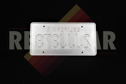 """US CALIFORNIA WHITE REFLECTIVE license plate with small RED TEXT CALIFORNIA located 1 inch / 25 mm from top, COUNTER-EMBOSSED BORDER, size 300x150 mm / 12x6"""""""
