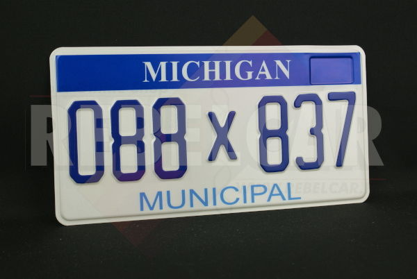 """US MICHIGAN MUNICIPAL REFLECTIVE license plate with 3M security wave, blue header, light blue MUNICIPAL at bottom, and ORIGINAL MI FONT, ONLY ONE FRAME ON THE TOP RIGHT CORNER, COUNTER-EMBOSSED BORDER, size 300x150 mm / 12x6"""""""