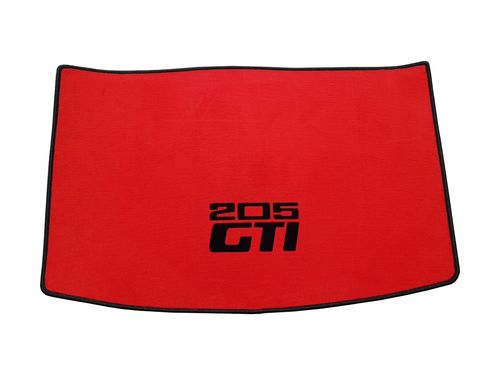 VELVET 205 GTI CABRIOLET RED BOOT mat with BLACK BORDER and BLACK CENTRAL HORIZONTAL LOGOS