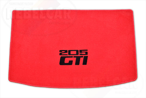 VELVET 205 GTI CABRIOLET RED BOOT mat with RED BORDER and BLACK CENTRAL HORIZONTAL LOGOS