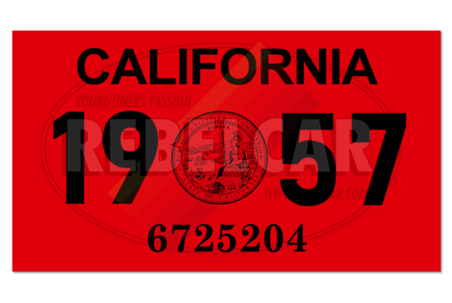 Vignette de plaque US 4,3x2,5 cm - CALIFORNIA 1957 rouge avec sceau officiel CA central