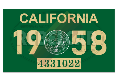 Vignette de plaque US 4,3x2,5 cm - CALIFORNIA vert 1958 avec sceau officiel CA central