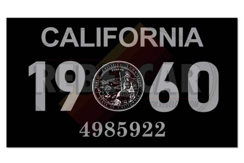 Vignette de plaque US 4,3x2,5 cm - CALIFORNIA 1960 noir/gris avec sceau officiel CA central
