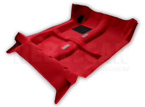 RED thermoformed carpet for Peugeot 205 CTI (CABRIOLET, meaning CONVERTIBLE) + 2 pieces for the central tunnel (phase 1 and 2 provided) - RESUPPLY IN APRIL, RECORD YOUR EMAIL ON THE RESUPPLY ALERT