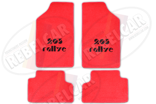 RED velvet floor mats for 205 Rallye with RED BORDER and BLACK LOGOS in CENTRAL HORIZONTAL position