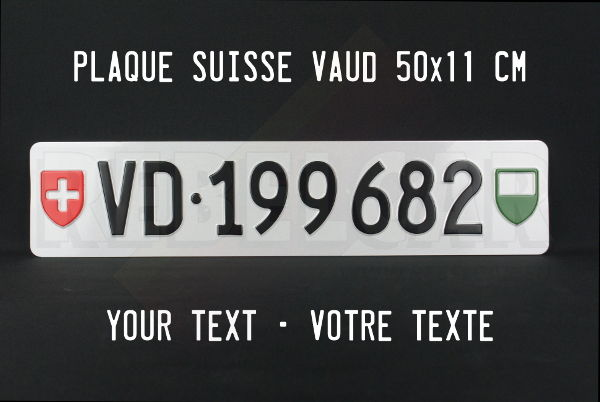 License plate Canton of Vaud format EXACT 50x11 cm