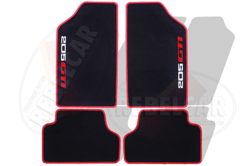 VELVET BLACK 205 GTI floor mats set with BICOLOR  WHITE/RED VERTICAL VERTICAL LOGOS