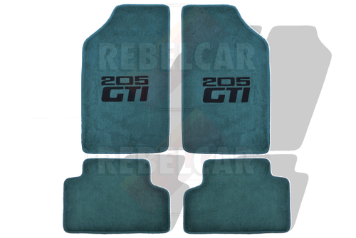 Greet velour set of floor mats for 205 GTI (2 front and 2 back pieces) with green border and black 2-lines centered (horizontal) logos 205 GTI