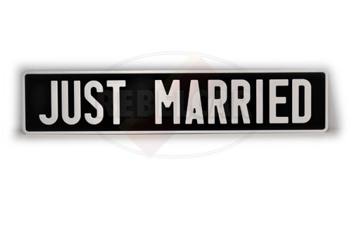 Plaque d'immatriculation JUST MARRIED 52x11 noire collection