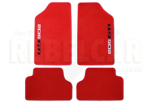 RED 205 GTI floor mats set with LOGOS BICOLOUR WHITE/BLACK LATERAL VERTICAL LOGOS