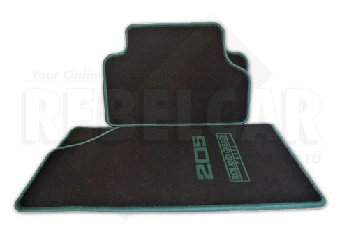 BLACK 205 ROLAND GARROS rug set with GREEN seams and logos