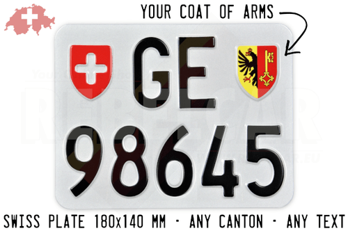 License plate SWITZERLAND ACCURATE dimensions 18 x 14 cm - Canton of your choice