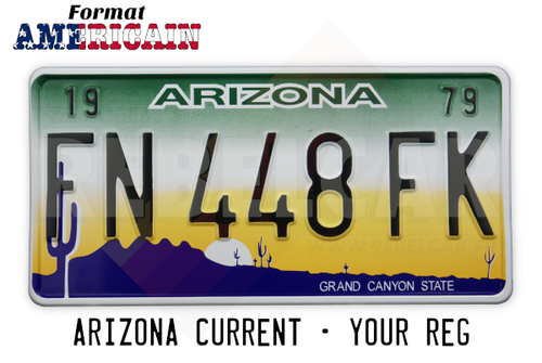 "US ARIZONA NON-REFLECTIVE license plate ""Grand Canyon State"" with WHITE BORDER, size 300x150 mm / 12x6"" - note to the workshop : attention, non-reflective version"