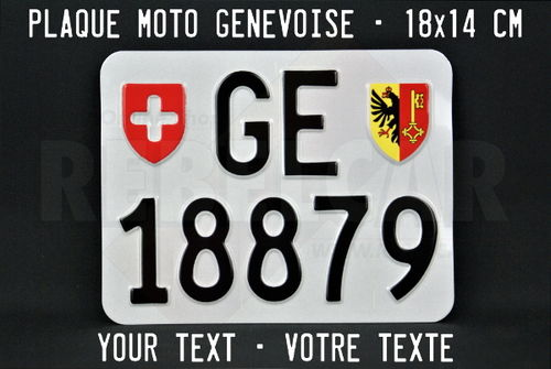 License plate SWITZERLAND Geneva ACCURATE dimensions 18 x 14 cm