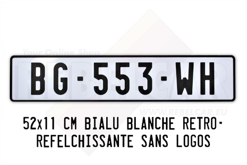 WHITE Retro reflective plate 520x110 mm with LISERÉ BLACK, WITHOUT LOGOS
