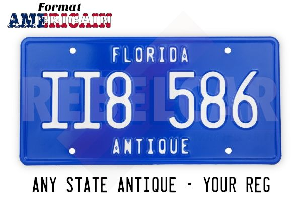 """US EMBOSSED BLUE license plate with BLUE BORDER, ANY STATE NAME ON THE TOP and ANTIQUE AT THE BOTTOM, size 300x150 mm / 12x6"""""""