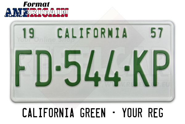 US CALIFORNIA WHITE white 300x150 mm plate with WHITE BORDER and GREEN REGISTRATION, CALIFORNIA text on plate