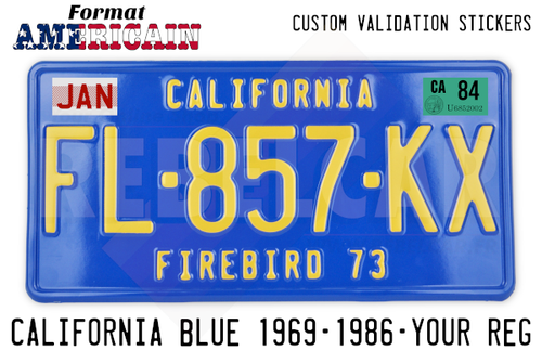 US California BLUE aluminum 300x150 mm license plate with BLUE BORDER and CALIFORNIA EMBOSSED ON THE TOP