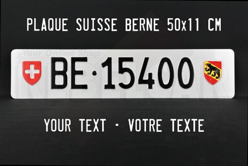 License plate Canton of Berne EXACT size 50x11 cm