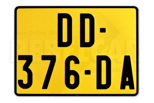 YELLOW Retro reflective plate 275x200 mm with LISERÉ BLACK, WITHOUT LOGOS