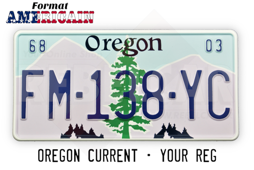 US OREGON license plate REFLECTIVE, with WHITE BORDER, size 300x150 mm / 12x6""