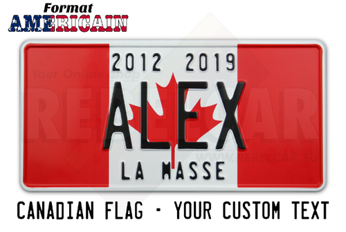 US aluminum plate FLAG CANADA 300x150 mm with embossed border and custom TEXT(S)