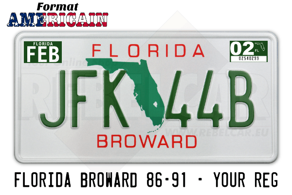 US FLORIDA BROWARD White USA License Plate with Green State, white border, size 300x150 mm